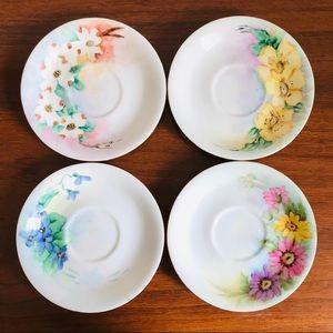 Vintage mid century modern hand painted plate set